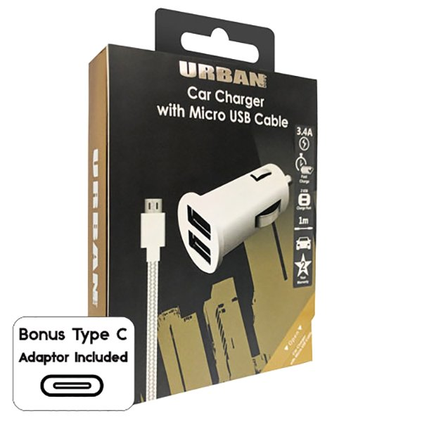 Urban Dual Car Charger 3.4A with Micro - Click to enlarge