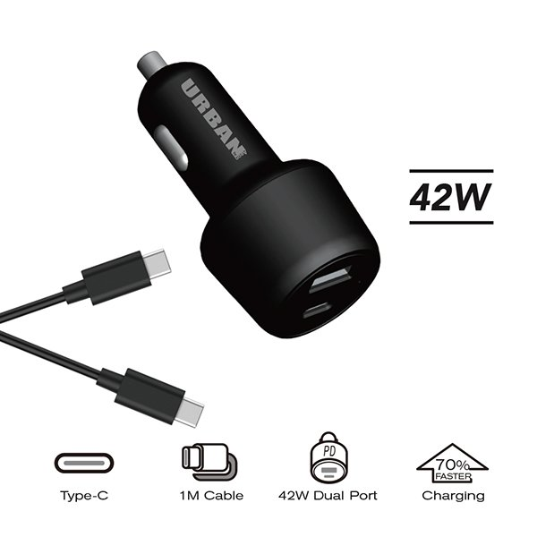 Urban 42W PD Car Charger 1m C Cable