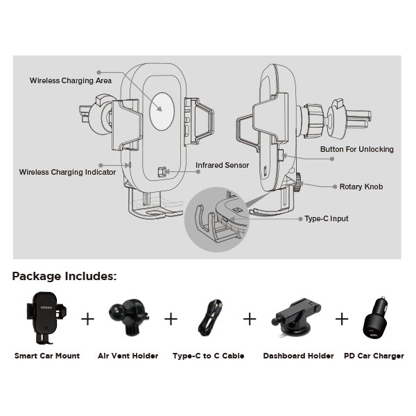 Urban Auto15 Sensor Wireless Car Holder
